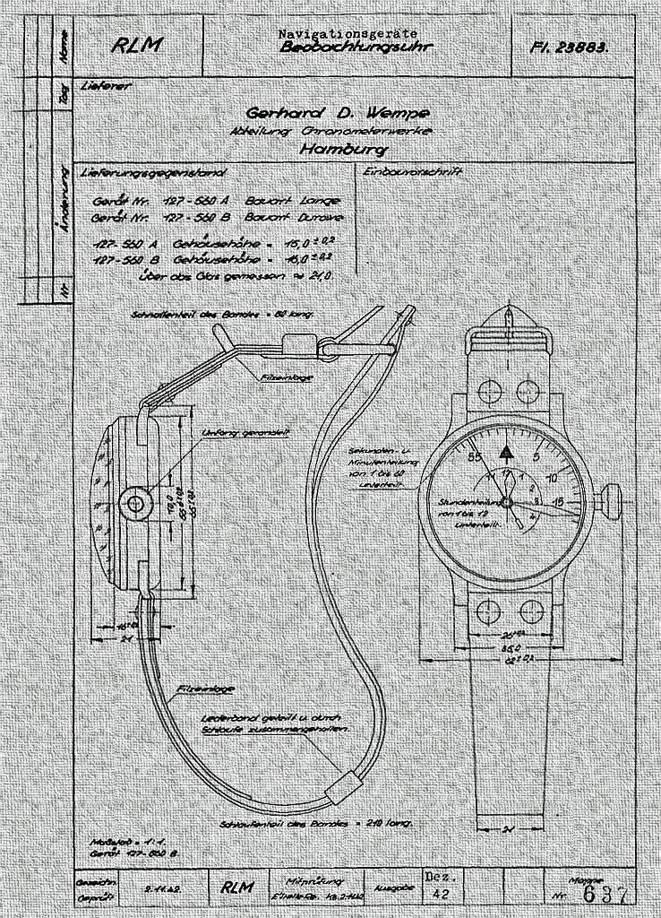 Projekt zegarka dla Luftwaffe, przygotowany przez firmę Wempe, źródło: www.justwatchme.net